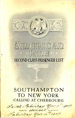 Second Class Passenger List, American Line S.S. St. Paul 1907