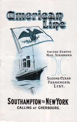 Passenger Manifest Cover, May 1914 Westbound Voyage - SS St. Paul