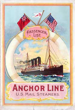 Passenger List, Anchor Line, 1903, Glasgow to New York