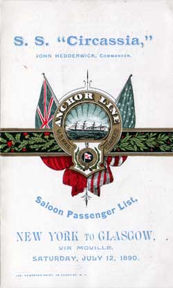 Anchor Line Passenger Manifest for the from 1890 on board the S.S. Circassia - Saloon Passengers