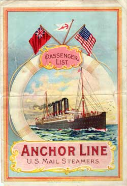Passenger List, Anchor Line S.S. Columbia, 1903, Glasgow, Scotland to New York