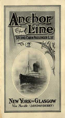 Passenger List, Anchor Line S.S. Furnessia, 1910