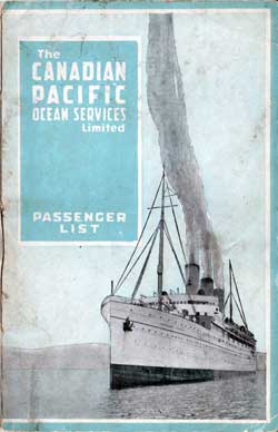 Passenger List, Canadian Pacific S.S. Pretorian - 1919 - Front Cover