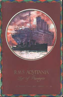 1921-06-25 Ships List for the R.M.S. Aquitania