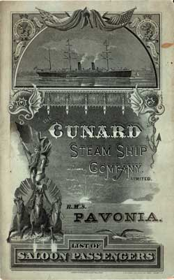 1887 Saloon Passenger List for the R.M.S. Pavonia of the Cunard Line