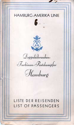 Passenger Manifest for the Hamburg Amerka Linie - Hamburg 1929