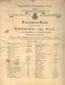 Passenger Manifest for the Steamer Lessing of the Hamburg Amerika Linie, 1881