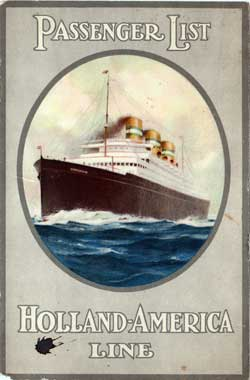 Passenger List, Holland America Line T.S.S. Rotterdam, 1929 Rotterdam to New York