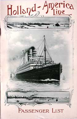 Passenger List, Holland America Line T.S.S. Statendam, 1908, Rotterdam to New York