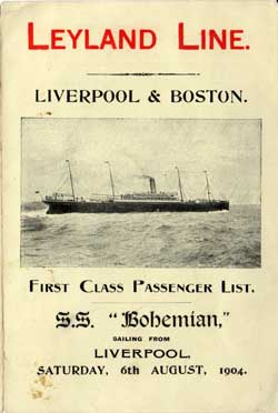 1904-08-06 Passenger List for the S.S. Bohemian
