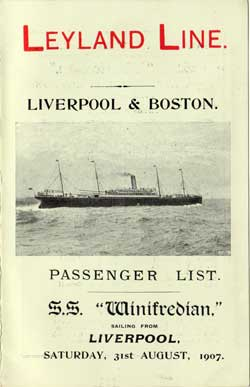 1907-08-31 Passenger Manifest for the SS Winifredian