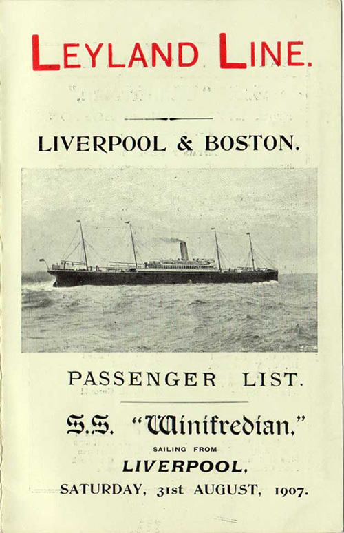 Passenger List, Leyland Line S.S. Winifredian 1907, Liverpool to Boston