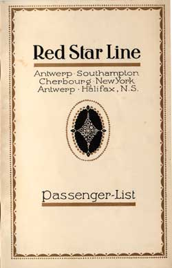 Passenger Manifest, Red Star Line S.S. Pennland 1926 Antwerp to Halifax and New York