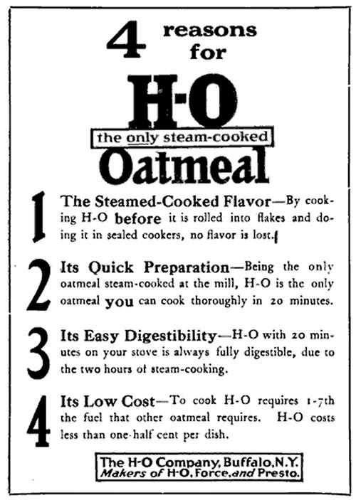 HO Steam Cooked Oatmeal Ad 1914