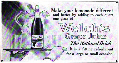 Welch's Grape Juice - The National Drink © 1912 The Welch Grape Juice Company