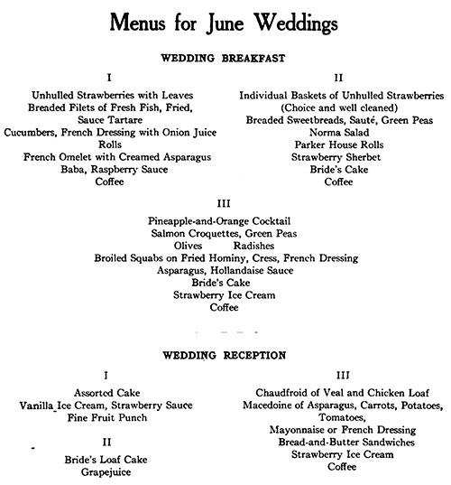 Menus for June Weddings