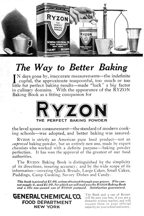 Ryzon - The Way to Better Baking Vintage Ad © May 1917 General Chemical Co.
