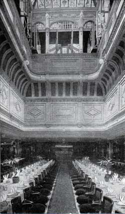 The Grand Dining Saloon of the Cunarders Campania and the Lucania Showing the Interior of the Dome.