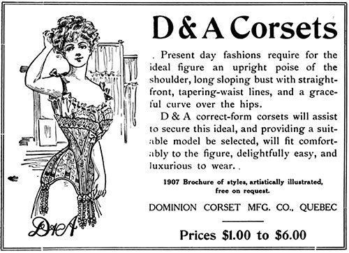 D&A Corset from Dominion Corset Manufacturing Co - 1907
