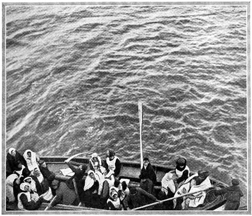 Lightly Loaded Titanic Lifeboat Nears the Carpathia