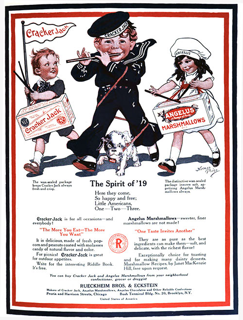 The Spirit of '19 Cracker Jack and Angelus Marshmallows Ad (1919)