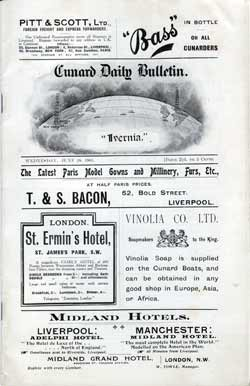 Cunard Daily Bulletin, June 28, 1905 R.M.S. Ivernia