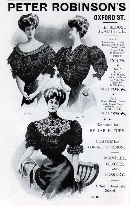 Peter Robinson's Women's Fashions - 1907 Advertisement