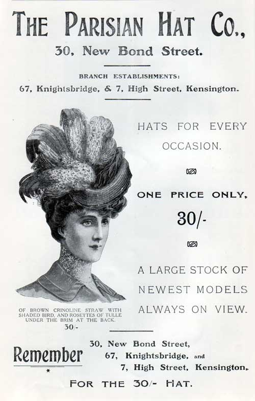 The Parisian Hat Company - 1907 Advertisement