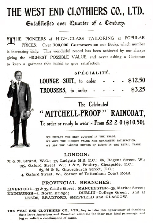 The West End Clothiers Co., Ltd. - London - 1908 Advertisement
