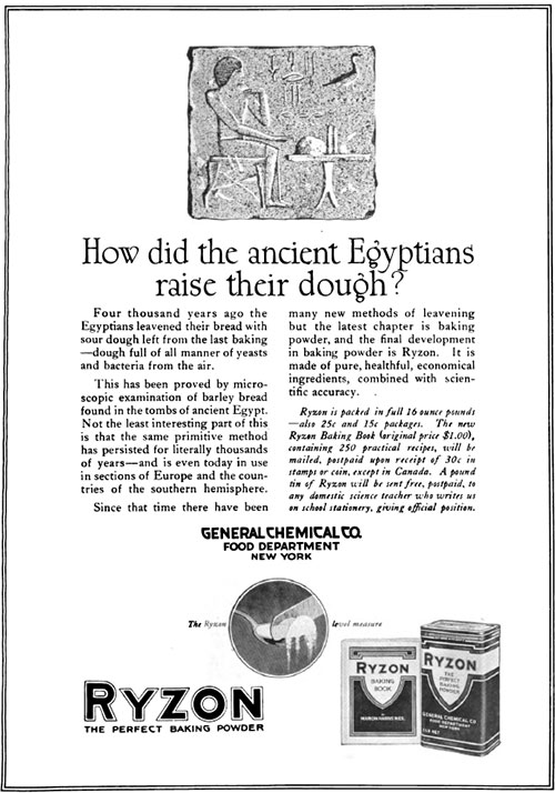 Ryzon - The Way The Egyptians Raised Their Dough Vintage Ad © January 1920 General Chemical Co.