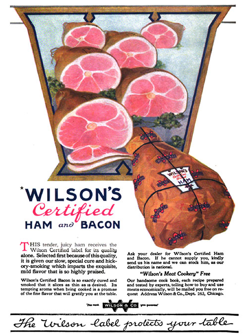 Wilson's Certified Ham and Bacon Vintage Ad © February 1920 Wilson & Co.