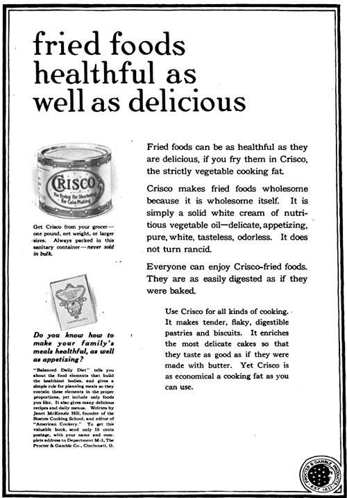 Fried Food Healthful as Well as Delicious - Crisco Vintage Ad © 1920