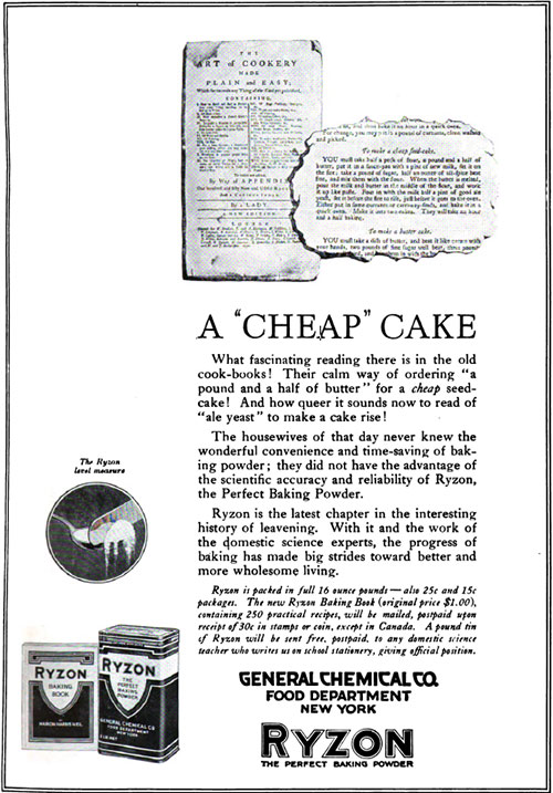 "Ryzon - A ""Cheap Cake"" Vintage Ad © February 1920 General Chemical Co."