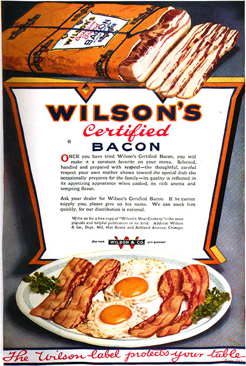Wilson's Certified Bacon Vintage Ad © April 1920 Wilson & Co.