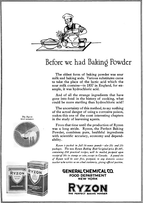 Ryzon - Before Baking Powder Vintage Ad © April 1920 General Chemical Co.