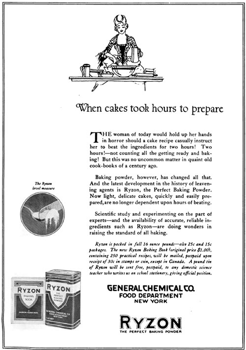 Ryzon - When Cakes Took Hours Vintage Ad © May 1920 General Chemical Co.