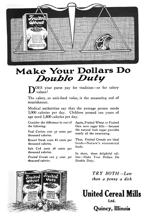 Fruited Wheat & Fruited Oats - Make Your Dollars Do Double Duty © 1920
