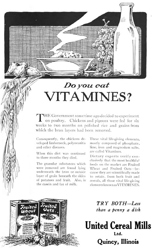 Fruited Wheat & Fruited Oats - Do You Eat Vitamines? © 1920