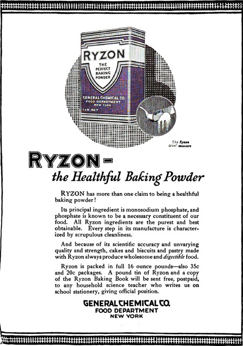 Ryzon - The Healthful Baking Powder Vintage Ad © September 1920 General Chemical Co.