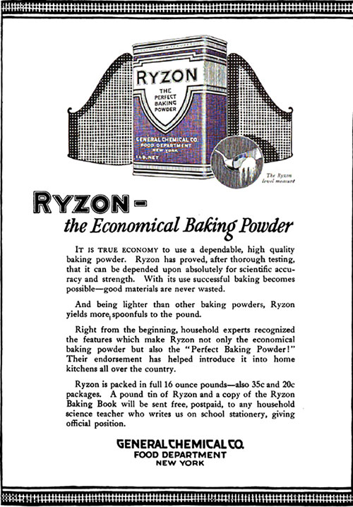 Ryzon - The Economical Baking Powder Vintage Ad © October 1920 General Chemical Co.