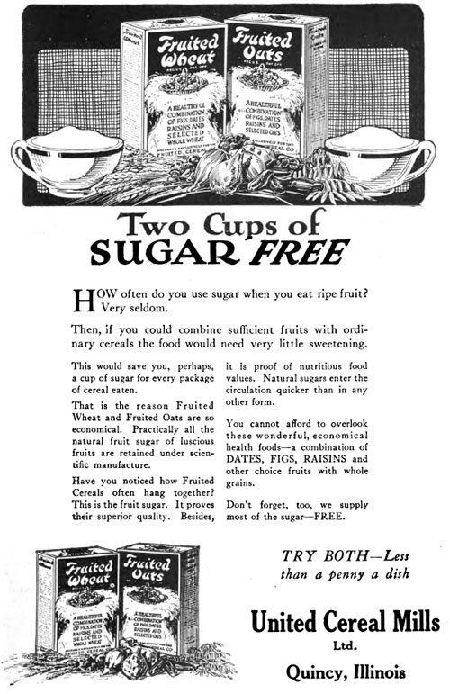 Fruited Wheat & Fruited Oats - Two Cups of Sugar Free © 1920