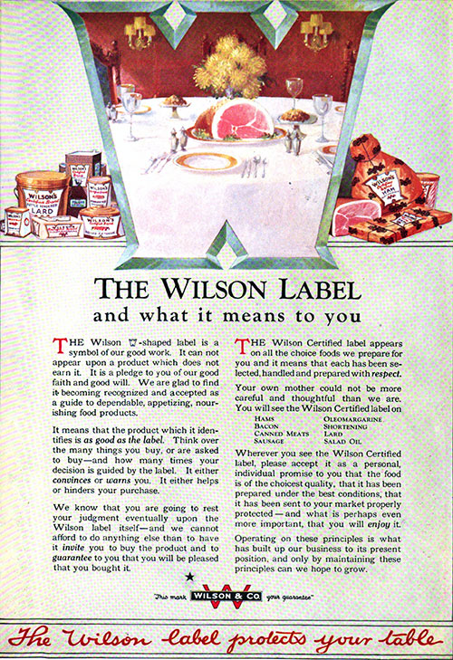 The Wilson Label and What It Means to You Vintage Ad © December 1920 Wilson & Co.