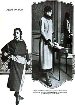 Tailored Dress of Beige Duvetyn and Blue Serge Coat by Jean Patou.