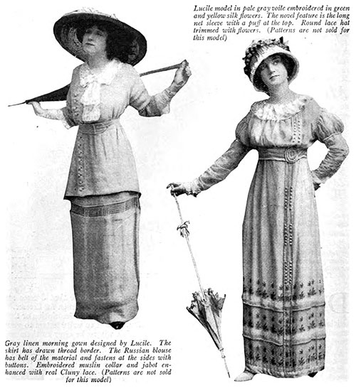 Summer Fashions by Lucile (Lady Duff-Gordon). Morning Gown and Summer Dress.