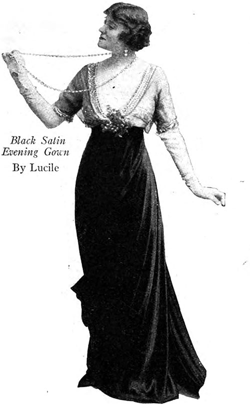 Black Satin Evening Gown By Lucile