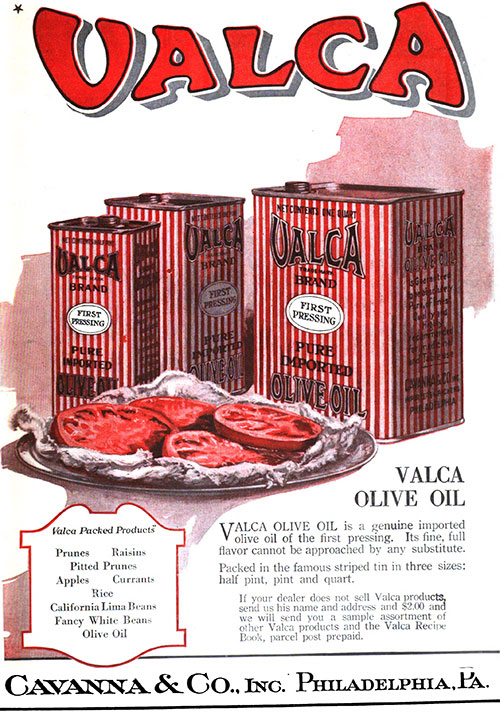 Valca Olive Oil © 1919 Cavanna & Co., Inc.