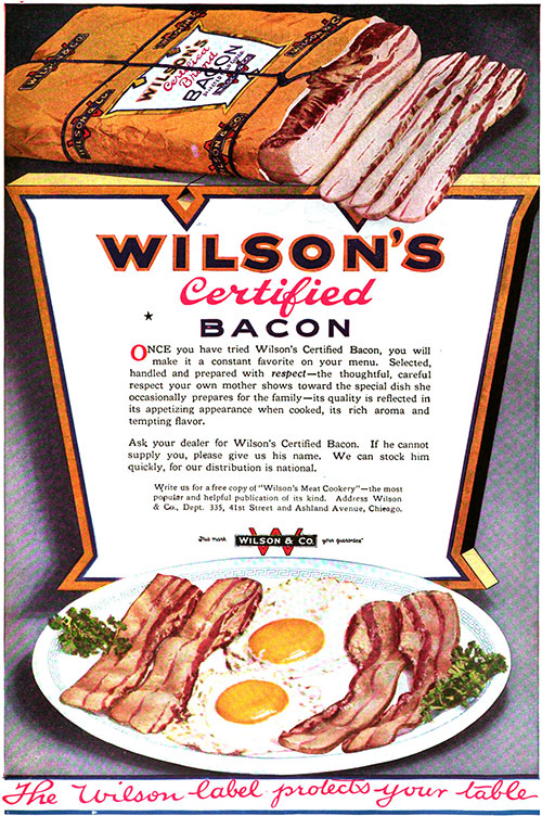 Wilson's Certified Bacon Vintage Ad © March 1920 Wilson & Co.