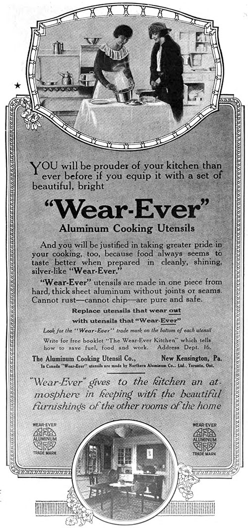 """Wear-Ever"" Aluminum Cooking Utensils - Prouder of Your Kitchen © 1920"