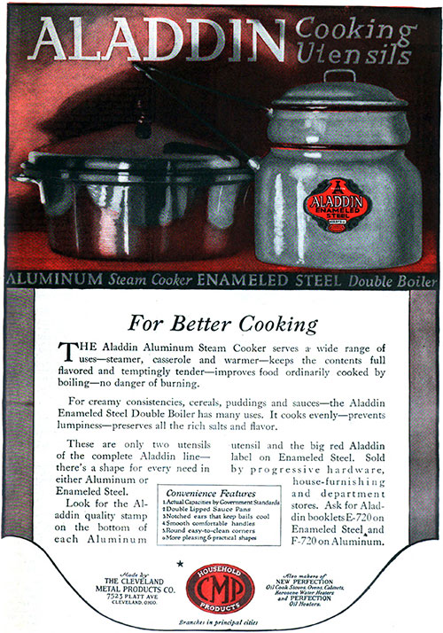 Aladdin Cooking Utensils For Better Cooking © 1920 The Cleveland Metal Products Co.