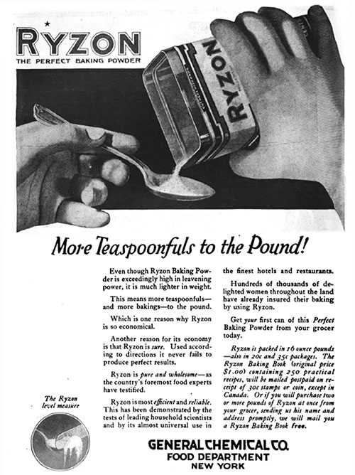 Ryzon - More Teaspoonfuls to the Pound Vintage Ad © October 1920 General Chemical Co.